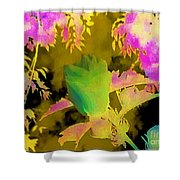 Second Take Abstract Green Blue Flowers Shower Curtain