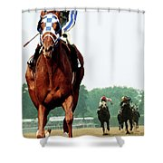 Secretariat Winning The Belmont Stakes, Jockey Ron Turcotte Looking Back, 1973 Shower Curtain
