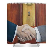 Secret Handshake Shower Curtain