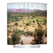 Sedona View Red Rock Mesa Shower Curtain
