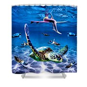 See Turtles Shower Curtain