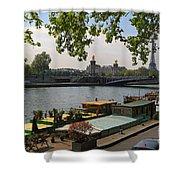 Seine Barges In Paris In Spring Shower Curtain