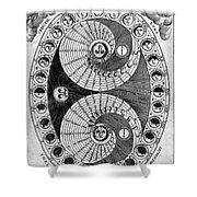 Selenic Shadowdial, Lunar Chart, 1646 Shower Curtain