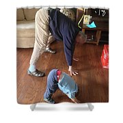 Self Portrait 8 - Downward Dog With Grandson Max On His 2nd Birthday Shower Curtain