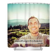 Self Portrait From A Mountain Top Shower Curtain