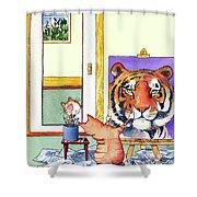 Self Portrait, Tiger Shower Curtain