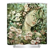 Self Portrait With Aplle Flowers Shower Curtain