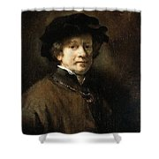 Self Portrait With Cap And Gold Chain Rembrandt Harmenszoon Van Rijn Shower Curtain