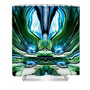 Self Reflection - Blue Green Shower Curtain