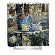 Selling And Roasting Chestnuts Shower Curtain