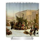 Selling Christmas Trees Shower Curtain by David Jacobsen
