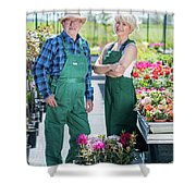 Senior Gardener And Middle-aged Gardener At Work. Shower Curtain