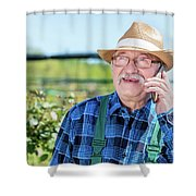 Senior Gardener Talking On The Phone With A Client. Shower Curtain
