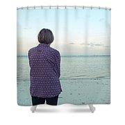 Senior Woman On The Beach  Shower Curtain