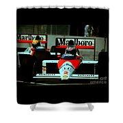Senna Chasing Prost ... Shower Curtain