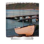 Sennen Cove Boat At Sunset Shower Curtain