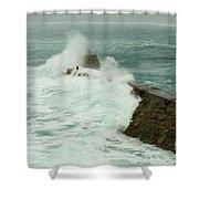 Sennen Cove Breakwater Shower Curtain