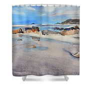 Sennen Cove Low Tide Shower Curtain