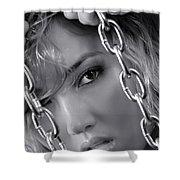 Sensual Woman Face Behind Chains Shower Curtain