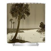 Sepia Beach Shower Curtain