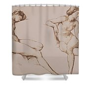 Sepia Drawing Of Nude Woman Shower Curtain by William Mulready