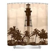 Sepia Light House  Shower Curtain