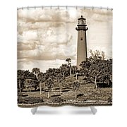 Sepia Lighthouse Shower Curtain