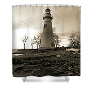 Sepia Marblehead Lighthouse Shower Curtain