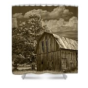 Sepia Michigan Barn Landscape Shower Curtain