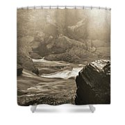 Sepia Moody River Shower Curtain