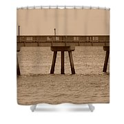 Sepia Pier Shower Curtain