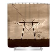 Sepia Power Shower Curtain