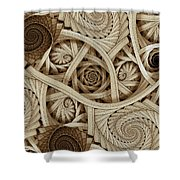 Sepia Swirls Fractal Art Shower Curtain