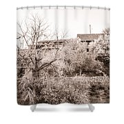 Sepia-toned Blooming Almond Trees Of Fikardou Village 1 Shower Curtain