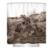 Sepia-toned Blooming Almond Trees Of Fikardou Village 2 Shower Curtain