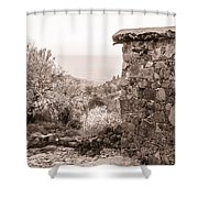 Sepia-toned Fikardou Village Scene 1 Shower Curtain