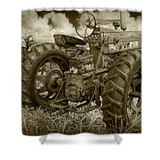 Sepia Toned Old Farmall Tractor In A Grassy Field Shower Curtain