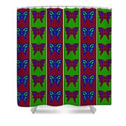 Serendipity Butterflies Blueredgreen 14of15 Shower Curtain