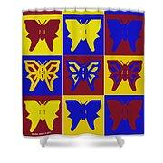Serendipity Butterflies Brickgoldblue 1 Shower Curtain