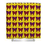 Serendipity Butterflies Brickgoldblue 26 Shower Curtain