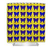 Serendipity Butterflies Brickgoldblue 27 Shower Curtain