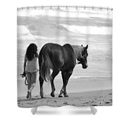 Serene Synchronicity In Black And White Shower Curtain