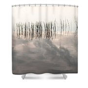 Serenity Dwells Here Where Tranquil Water Flow Cloaked  In Hues Of Love Shower Curtain by Jenny Rainbow