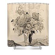 Sergey Vasilievich Chekhonin Russian 1878-1936 Flower Bouquet, 1935 Shower Curtain