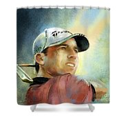 Sergio Garcia In The Castello Masters Shower Curtain