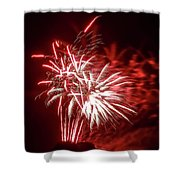 Series Of Red And White Fireworks Shower Curtain