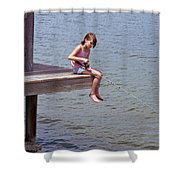 Serious Fishergirl On The Indian River In Florida Shower Curtain