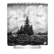 Serpentine Creek In Black And White Shower Curtain