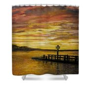 Sesuit Harbor At Sunset Shower Curtain by Jack Skinner