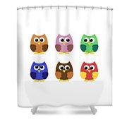 Set Of Six Little Owlets Shower Curtain